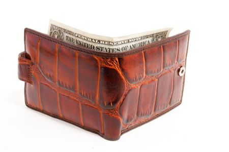 one dollar in wallet. white background