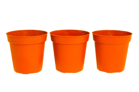 three pots on white background