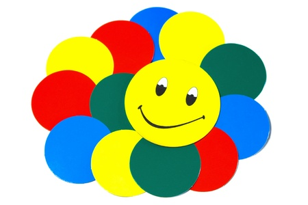 smiley face and colored circles. white background