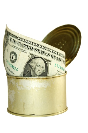 one dollar in can. white background