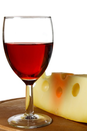 glass red wine and cheese on plate. white background Stock Photo