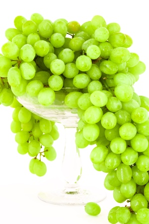 green grape in vase on white background