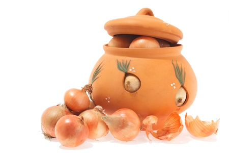 onions  and  pottery on white background