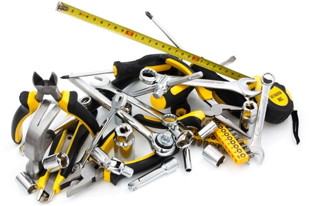work tool heap on white background