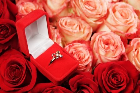 open red box with gold ring on flowers photo