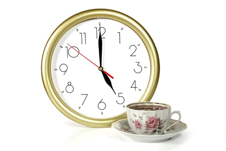 clock and cup on white background