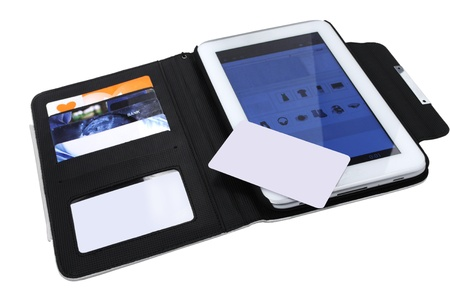 open digital tablet with blank card white background photo