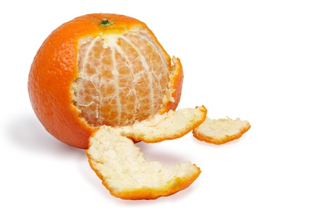 half peeled Tangerine on White Background