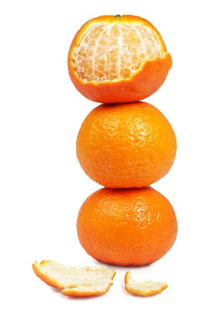 stack of three mandarin on White Background