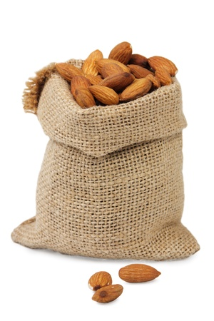 sack with almonds on White Background