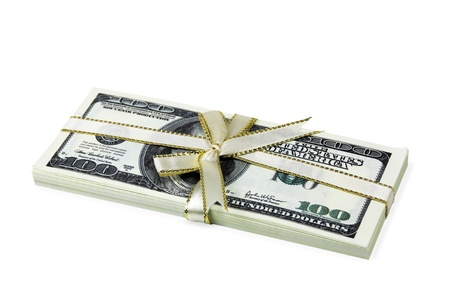 stack of hundred-dollar bills tied with a white ribbon White Background