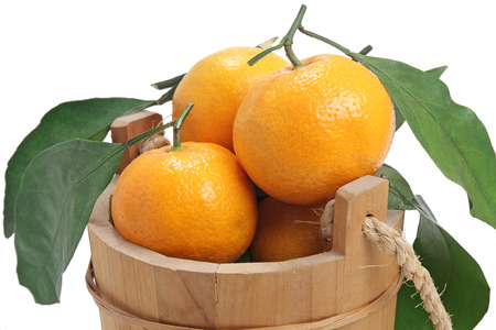 freshness tangerine and wooden pail on white background