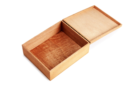 open  wooden box on white background
