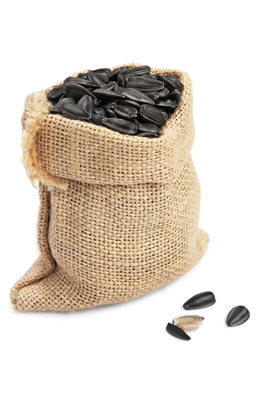 sunflower seed in sack on  white background