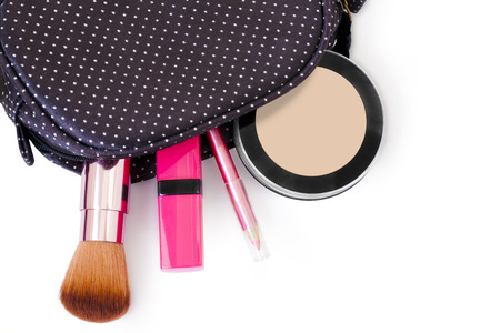 cosmetics case and  makeup tool ,white background Stock Photo