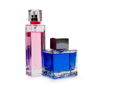 blue and pink perfume bottle on white background