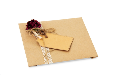 envelope from  wrapping paper on white background