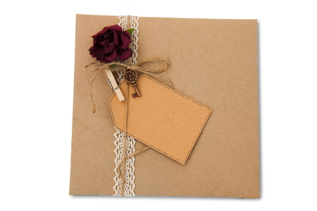 envelope from wrapping paper on white background Stock Photo
