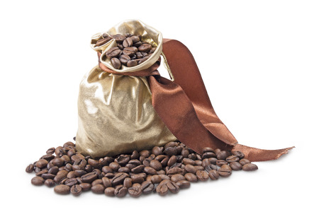 gold bag with coffee beans on white background