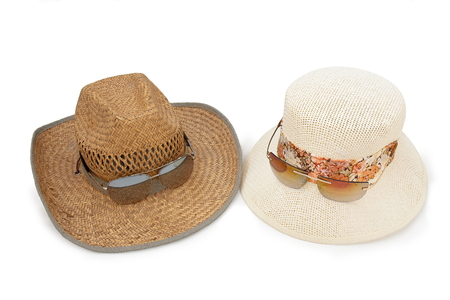 two hats on white background