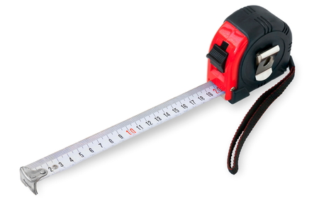 Measuring tape on white background Stock Photo