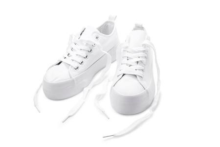 white shoes sports on white background Stock Photo
