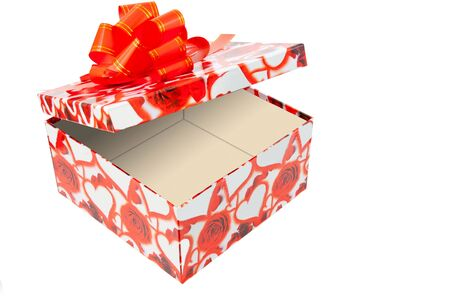 open box with bow on white background