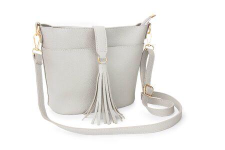 white leather female bag   on white background