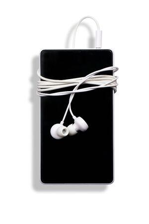 telephone with headphones on  white background Stock Photo