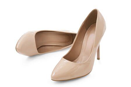 female elegant shoes , beige color on white background Reklamní fotografie