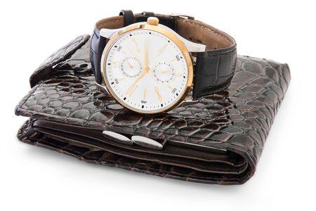 watch on wallet. white background 免版税图像
