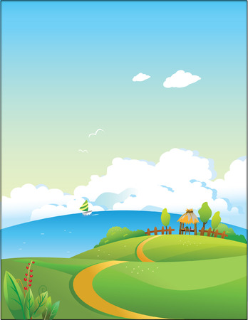 summer landscape.Vector decorative illustration for graphic design. Иллюстрация