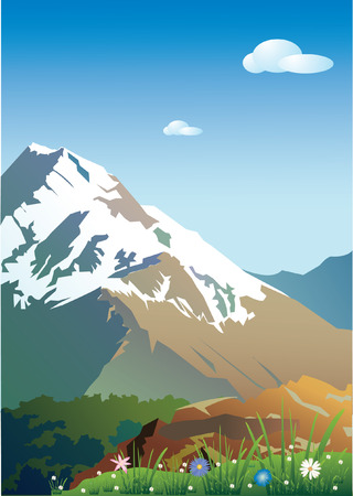 scenics:  Mountains in snow.Vector decorative illustration for graphic design.