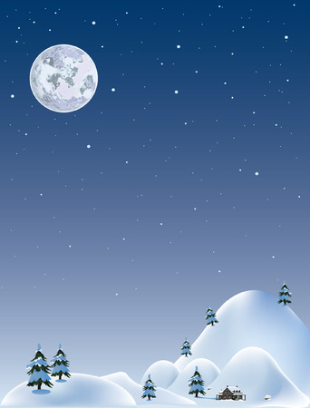 winter wonderland: Full moon.Vector decorative illustration for graphic design.