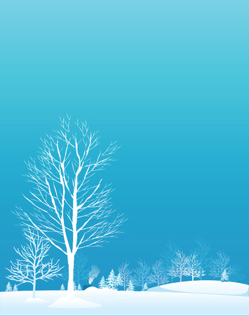 Winter trees.Vector decorative illustration for graphic design.