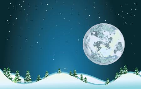 Full moon..Vector decorative illustration for graphic design. Illustration