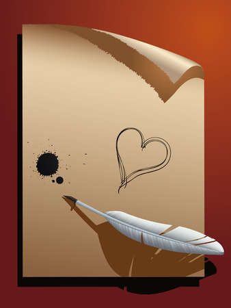 Feather on paper.Vector decorative illustration for graphic design.