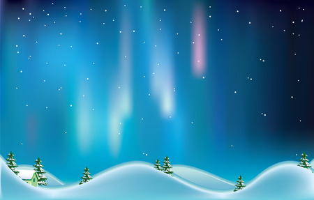 winter wonderland: Northern lights.Vector decorative illustration for graphic design.