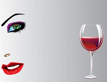 wineglasses: Vine and girl. Vector decorative illustration for graphic design.