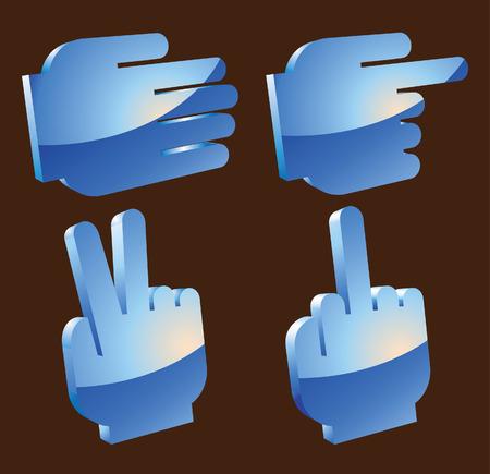 obscene gesture:  3D hands