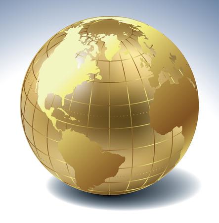 globo terraqueo: Globo de oro  Vectores