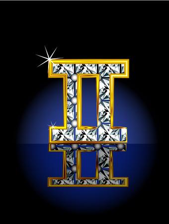Signo del zodíaco, representado en forma de joyería.  Ilustración de vector