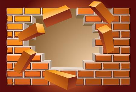 breaking wall Иллюстрация