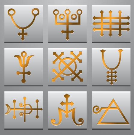 cryptic:  Alchemy symbols  Illustration