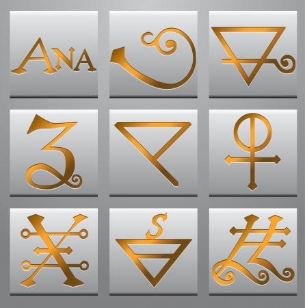 Alchemy symbols  Illustration