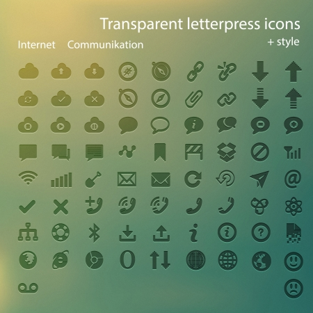 letterpress: Transparent letterpress icons. Illustration