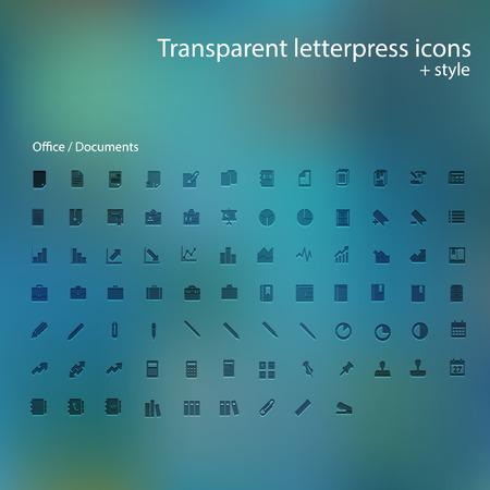Transparent letterpress icons. Illustration