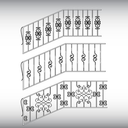 Gates forged, fence Ilustracja