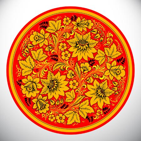 Khokhloma Circle design vector illustration. Illustration