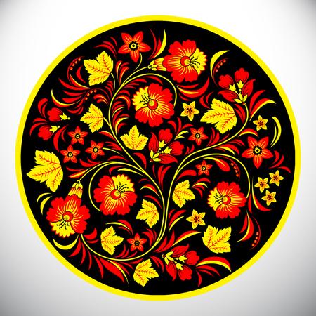 Khokhloma circle design vector illustration.